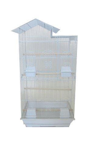 YML 18-Inch by 14-Inch Tall Villa Top Bird Cage, White