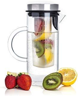 Winfi Fruit Infusion Pitcher Glass with Airtight Stainless Steel Lid, Splendid Scandinavian Design Made of Borosilicate Glass for Infusing Fruits & Make Lemonade, Sangria, Tea, & Kool Aid, 1 -