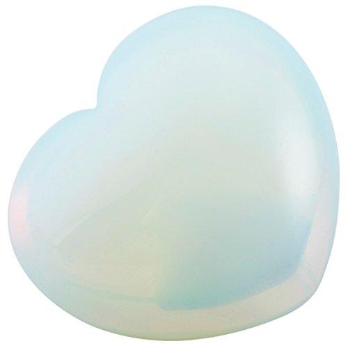 rockcloud Healing Crystal Opalite Heart Love Carved Palm Worry Stone Chakra Reiki Balancing