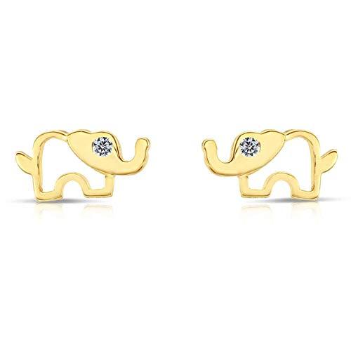 10k Yellow Gold Tiny Open Elephant CZ Stud Earrings with Secure - Elephant Earrings 10k