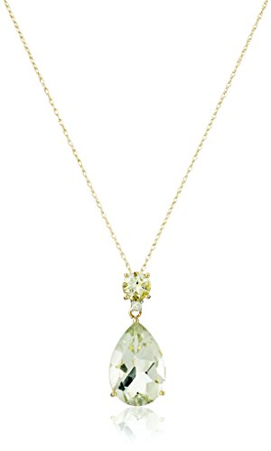 Green Amethyst Diamond Pendant (10k Yellow Gold Green Amethyst and Diamond Pendant Necklace, 18