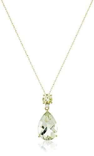 Green Amethyst Diamond Necklace - 10k Yellow Gold Green Amethyst and Diamond Pendant Necklace, 18