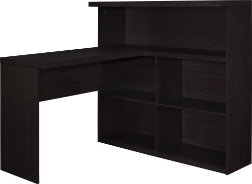 Ameriwood Home Trilium Way Sit/Stand L-Shaped Desk, Espresso -