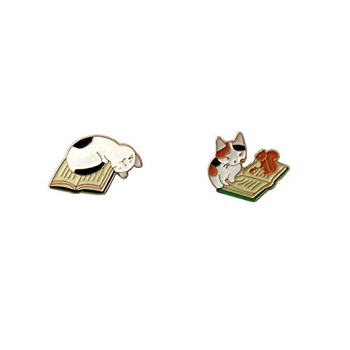 CAROMAY 2 PC Cat Lapel Pins Set Kawaii Funny Cartoon Sleeping Reading Cat Enamel Brooch Boys Girls for Jacket Women Men (Type 7)
