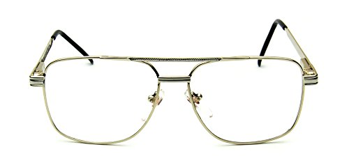 5f18f6888e3 Retro Aviator Clear Lens Eyeglasses Super Vintage Classic Nickel Metal Frame  (Gold + Silver Square