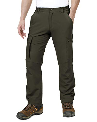 (Outdoor Ventures Men's Ultra Comfortable Lightweight Stretchy Water Resistant Quick Dry Tactical Hiking Cargo Warm Pants)