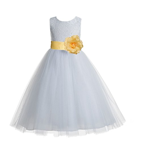 - ekidsbridal Floral Lace Heart Cutout White Flower Girl Dresses Canary First Communion Dress Baptism Dresses 172T 6