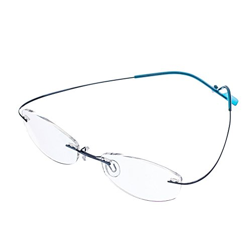 Bi Tao Super Light 100% Titanium Reading Glasses 1.75 Men Women Fashion Rimless Reading Eyeglasses 23 Strengths Available in 6 Colors+ Eyewear - Eyeglass Indestructible Case