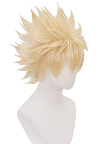 Topcosplay Anime Bakugou Cosplay Wig Short Blonde Afro Spike Wig Halloween Costume Synthetic Wigs