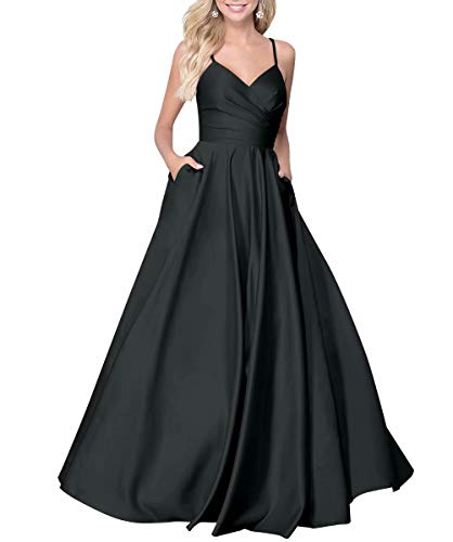KAOSHAN Long Prom Dress Satin V Neck 2019 Beaded Spaghetti Straps A-line Evening Gown with Pockets Black US20