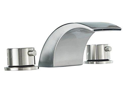 Modern Nickel Bath - Homevacious Widespread Bathroom Sink Faucet Led Light Waterfall Bath Tub Brushed Nickel 8-16 inch 2 Handles 3 Holes Commercial Lavatory Modern Contemporary Faucets Deck Mount Basin Mixer Tap