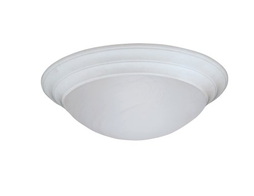 Designers Fountain 1245S-WH Lunar Collection 1-Light Flush Mount with White Alabaster Textured Glass, White Finish Collection 1 Light Flush