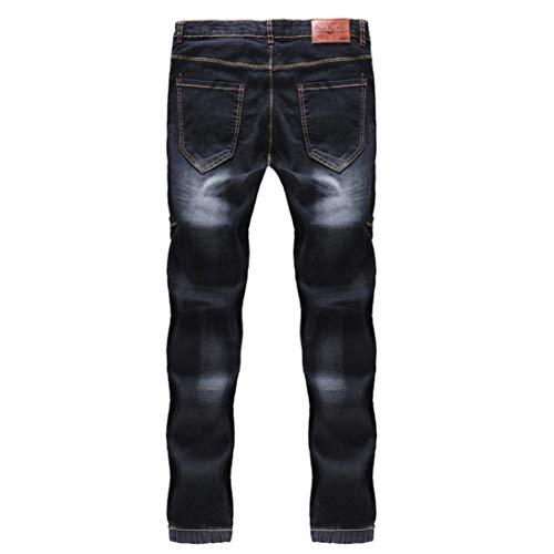 Con Cotone Multi Da Ufige tasca Stretch Tinta Denim Nero Pants Slim Ngen Fashion Unita Nne New T Pantaloni Giovane Cargo In Uomo Fit Jeans RSn5Evqx1w