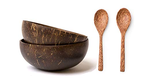 Coconut Bowls and Coconut Spoons Gift Set (Set of 2 Bowls and 2 Spoons) - 100% Natural Serving Bowls - Vegan - Organic - Hand Made - Eco Friendly - Made from Reclaimed Coconut Shells