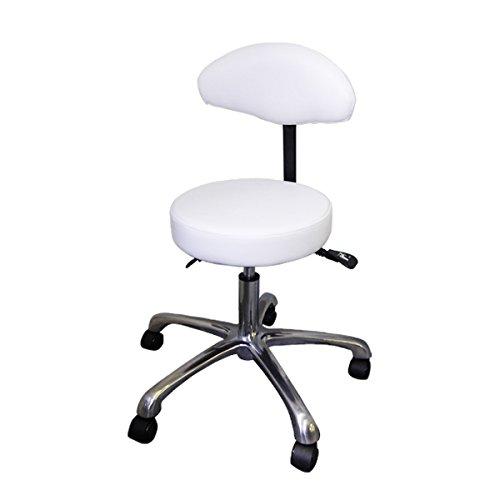 多機能 スツール ホワイト 高さ48cm-62cm [ エステスツール ネイルスツール 丸椅子 ネイルチェア キャスター付き 背もたれ付き 昇降式 角度調節 オフィスチェア スツール イス 椅子 チェア ] B01G1M9524