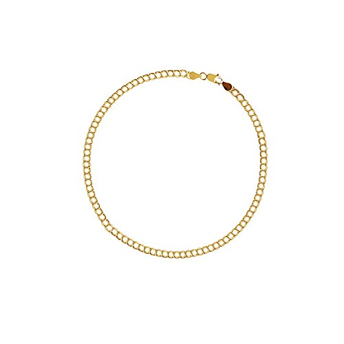 10k Charm Bracelet (10k Solid Real Yellow Gold Link Charm Bracelet 7 Inches)