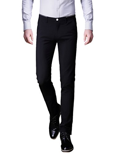 INFLATION Mens Wrinkle-Free Slim-Tapered Stretch Casual Pants,Flat Front Suit Pants Black