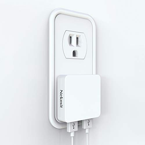Nekmit Dual Port Ultra Thin Flat USB Wall Charger with Smart IC (White)