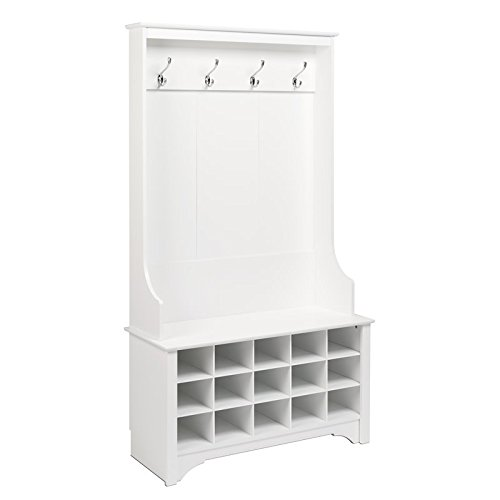 Atlin Designs Hall Tree with Shoe Storage in White