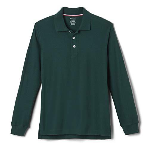 French Toast Big Boys' Long-Sleeve Pique Polo Shirt, Hunter, Medium/8 (Sleeved Uniform Shirts Long Girls)