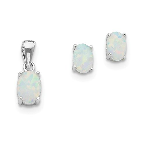 ICE CARATS 925 Sterling Silver Created Opal Pendant Charm Necklace Post Stud Earrings Set Fancy/Fine Jewelry Ideal Gifts For Women Gift Set From Heart Heart Charm Necklace Earrings