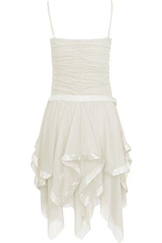 Oromiss traje de neopreno para mujer rollo de cinta de diseño de vestido de fiesta vestidos acanalado gasa Zig Zag dobladillo inferior con vestidos de cordones para las cortinas crema