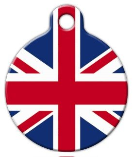 Dog Tag Art Custom Pet ID Tag for Dogs – British Flag – Small – .875 inch, My Pet Supplies