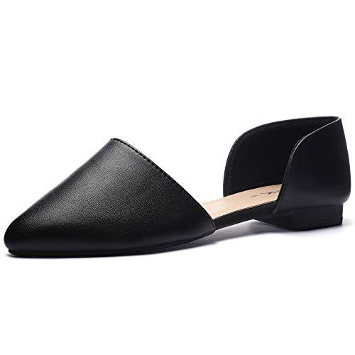 CINAK Flats Shoes Women  Pointed Toe Casual Ballet Comfort Open Side Slip on Loafers Black (Best Ballet Flats For Teachers)