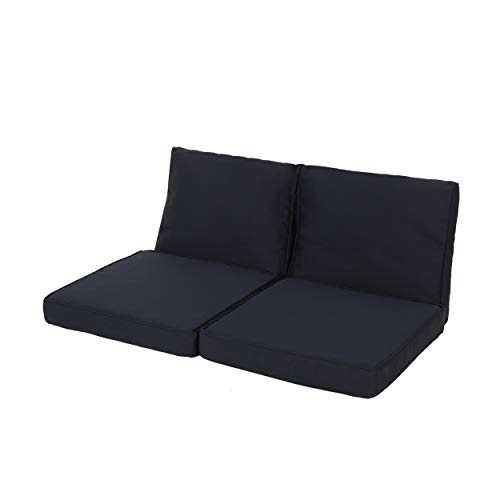 GDF Studio Gustave Outdoor Water-Resistant Fabric Loveseat Cushions with Piping, Navy Blue