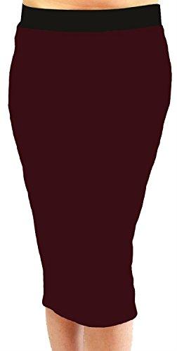Femmes Pencil Plaine Noir 54 lastiqu Jupes 44 Wine Taille Taille Midi Plus Band Nouveau pdwqHp