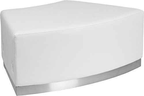 Flash Furniture HERCULES Alon Series Melrose White Leather Backless Convex Chair with Brushed Stainless Steel Base