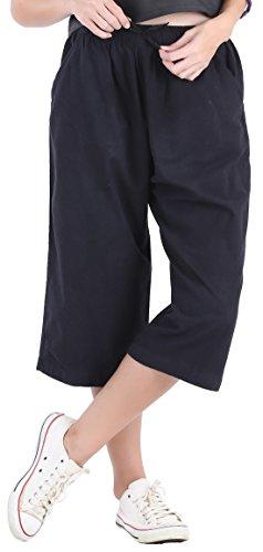 (CandyHusky Womens Loose Elastic Waist Cotton Casual Capri Wide Leg Palazzo Pants (S/M, Black))