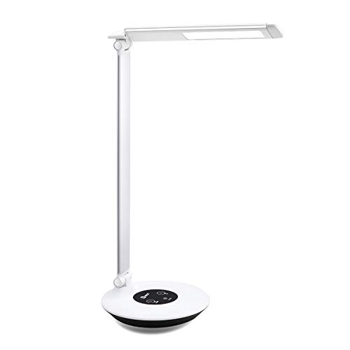IMIGY LED Desk Lamp Aluminum Alloy Finish, 6W Dimmable Office Lamp, Touch Control with 6-Level Brightness with Color Temperature @4000K, Silver