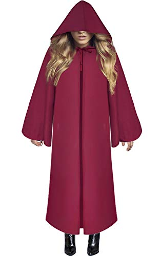 Soo Angeles Halloween Hooded Cloak Medieval Knight Robe Cape Costume Cosplay Role Party for Men & Women (Red -
