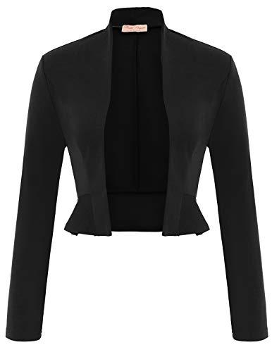 (Belle Poque Women's Open Front Long Sleeve Coat Shrug Bolero Cardigan Ruffle Cropped Sweater Black Size L BP794-1)