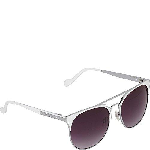 Jessica Simpson Sunwear Vintage Inspired Metal Sunglasses (Silver - Jessica Simpson Sunglasses White