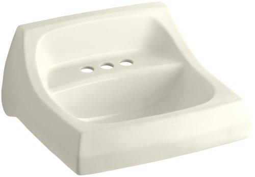 KOHLER K-2005-47 Kingston Wall-Mount Bathroom Sink, Almond 4' Centerset Vitreous China