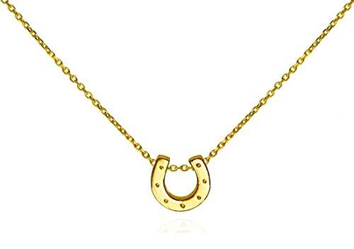Tiny Horseshoe Pendant Necklace .925 Sterling Silver Gold Tone Trendy Everyday - Horseshoe Gold Necklace