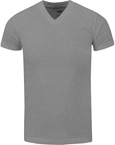 VNS05_ Active Mens Premium Cotton Heavy Weight V Neck Basic T Shirt H.Grey by Shaka Wear (Image #1)