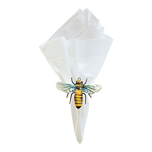 GALLERIE II Spring Easter Farmhouse Yellow Black Blue Bumble Bee Parties Occasion Napkin Ring Decor Decoration Set of 6 Napkin Ring Set of 6 Bee -