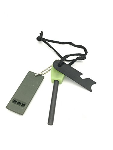 Glow In The dark 5 in 1 Survival Firesteel Magnesium Rod Fire Starter Kits with Emergency Whistle Thicker Rod