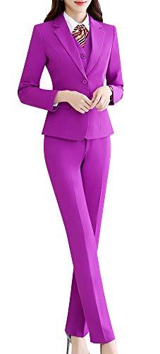 Women's Three Pieces Office Lady Stripe Blazer Business Suit Set Women Suits Work Skirt/Pant,Vest Jacket (Purple, 2XL)
