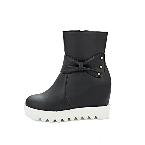 Womens SXC02458 AdeeSu Wedges Black Bows Studded Urethane Boots ZHqOPFx