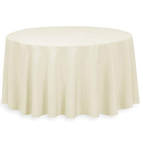 (LinenTablecloth 132-Inch Round Polyester Tablecloth)