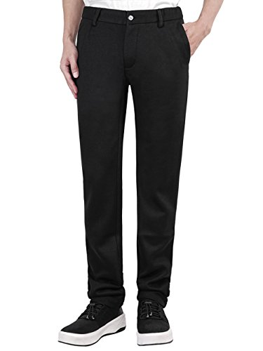 Men's Slim Casual Formal Straight Dress Mens Slacks Pants Suits Stretch Trousers Wool (38, black)
