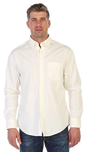 Gioberti Mens Long Sleeve Casual Twill Contrast Shirt, Ivory, Small