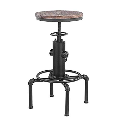 (Industrial Wind Bar Chair Lift Leisure High Stool, Retro Solid Wood Wrought Iron Frame Design, Screw Assembly, Home Decoration (Multi-Color Optional) )
