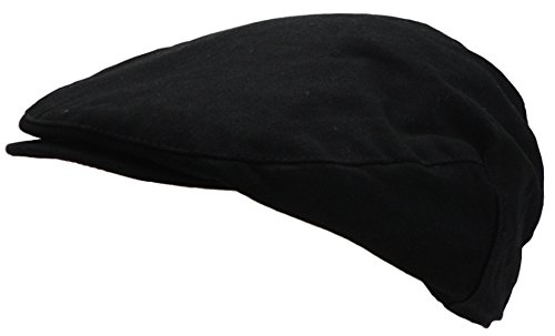 Black Newsboy - Wonderful Fashion Men's Cotton Front Button Flat Cap IVY Gatsby newsboy Hunting Hat (Black)