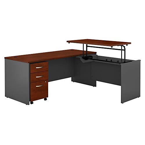 Bush Business Furniture Series C 72W x 30D 3 Position Sit to Stand L Shaped Desk with Mobile File Cabinet in Hansen Cherry/Graphite Gray