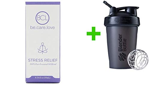 (BCL, Be Care Love, 100% Pure Essential Oil Blend, Stress Relief, 0.34 fl oz (10 ml)(1 Packs)+Sundesa, Blender Bottle, Classic with Loop, 20 oz)